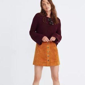 Madewell Velveteen Snap Front Skirt
